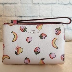 Coach Fruit and Cream Print Corner Zip Wristlet